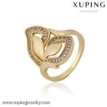 12835 China Wholesale Xuping Fashion Elegant 18K anillo de mujer de oro de la perla