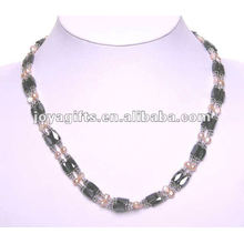 "Magnetic Hematite Round Beaded Wrap Bracelets & Collier 36 """