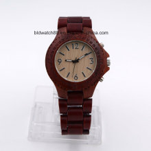 High Quality Quartz Wooden Watch for Women Red Sandalwood