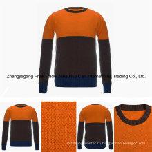 Мужская круглый Цвет шеи в сочетании 100% высший сорт чистый кашемир свитер