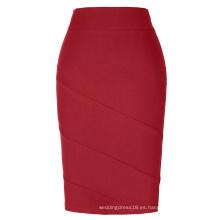 Kate Kasin Occidente Mujer falda OL Alta falda de lápiz rojo con forma de cadera Hechas Estiradas KK000269-3