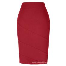 Kate Kasin Occident Women OL skirt High Stretchy Hips-Wrapped Red Pencil Skirt KK000269-3