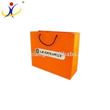 Bolsa de papel kraft blanco impreso personalizado reciclado un precio más bajo, bolso de compras de papel