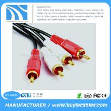 10FT (3M) 2 RCA to2 RCA AV cabo