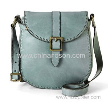 Small Blue Leather Flap Bag For Girls