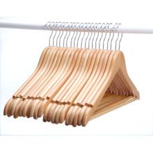 Amazon hot sale Swivel Hook cut notch solid wooden jacket hanger with bar