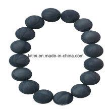 Цветастый здоровый китайский Поставщик ПВХ черный бусины Пластиковые Браслет сувенир