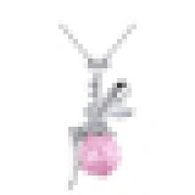 925 Sterling Silber Halsketten Engelsflügel Ahiny Schmetterling Fairy Sapphire Anhänger Halskette für Frauen Schmuck