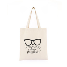Custom Printing Logo Cat Printing Vintage Eco-Friendly Cotton Shopping Grocery Bags Recycled Canvas Tote Bag