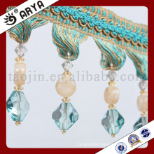 new design special and sapphire blue beads Fringe for Curtain decoration and lamp decoration