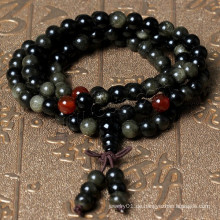 2015 Gets.com 108 Perlen japa mala, Natürlicher schwarzer Obsidian, mit rotem Achat, rund, 4-strangig