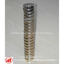 Dia.6x3mm N35 ndfeb nickel coating disc magnets