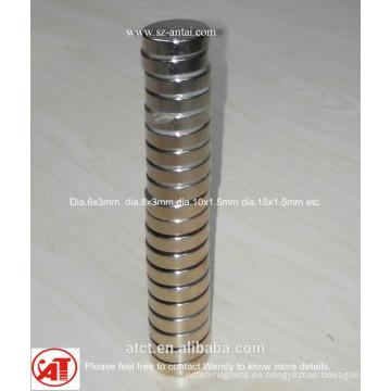 Dia.6x3mm N35 níquel de ndfeb imanes de disco de la capa
