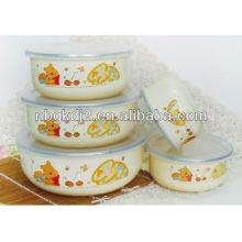 enamel storage bowl set with PP lid (enamelware)