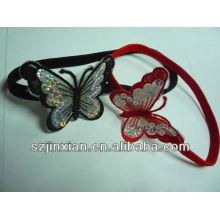 Cordón de pelo elástico plano rojo y negro con buterfly