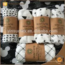 """Motif géométrique avec emballage Fibre de bambou en mousseline Nez bébé Serviette de bain Couverture de Swaddle 47 """"* 47"""""""