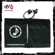 Venda quente bolsa de jóias de cetim, cor bolsa de jóias de camurça com logotipo, bolsa de camurça para jóias