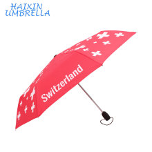 "21"" 23"" Red Color Windproof Switzerland Custom Print Logo Compact Travel Automatic Folding Umbrella Advertising"