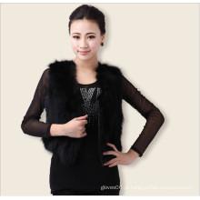 Lady Mulheres Elegante Clássica Real Fox Fur Vest, Outono Fora Wear Jacket Black Vest