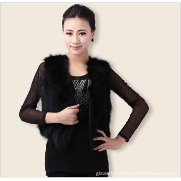 Женщин-женщин Элегантный классический настоящий жилет из меховой лисы, Осенняя куртка с изнаночной одеждой Черный жилет