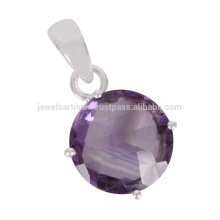 Natural Amethyst Gemstone 925 Sterling Silver Pendant