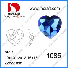Heart Shaped Glass Stones / Colored Glass Stones, Crystal Amethyst Heart Gemstone Heart Cut for Glass Stones