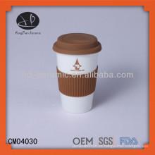 Nueva taza de cerámica de la pared doble de los productos del diseño con las impresiones de encargo de la impresión de las tapas del silicón, taza nescafe de cerámica de la promoción esmaltada al por mayor
