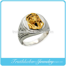 Lastest Religious Prayer Jewelry Father Jesus Finger Ring Trendy 316L Stainless Steel Two Tone Catholic Jewelry