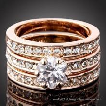 Alta qualidade noivas senhora três camadas de titânio anel de casamento