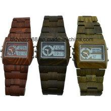 Montres-bracelets en bois analogiques numériques imperméables pour les hommes