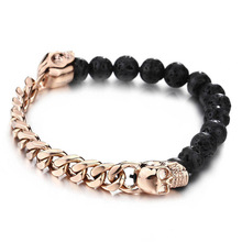 Mens lava stone rose gold skull bracelet