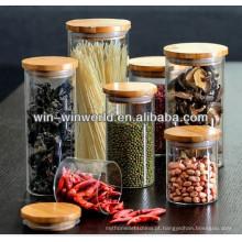 Frasco hermético do armazenamento do vidro da erva com a tampa de borracha do selo do bambu