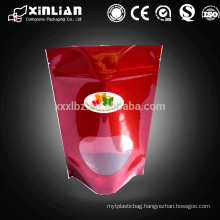 high quality aluminum foil stand up bag with clear panel