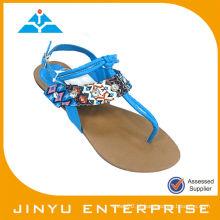 T-strap pavão azul sapatos sandália