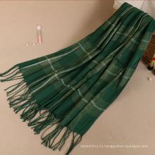 Премиум блеск Золотая линия Женская мода мусульманских печатных зима плед пашмины хиджаб шарф