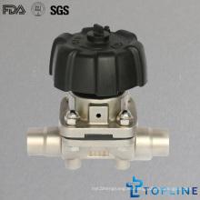 Válvula sanitaria de diafragma de acero inoxidable con extremos de soldadura (nuevo diseño)