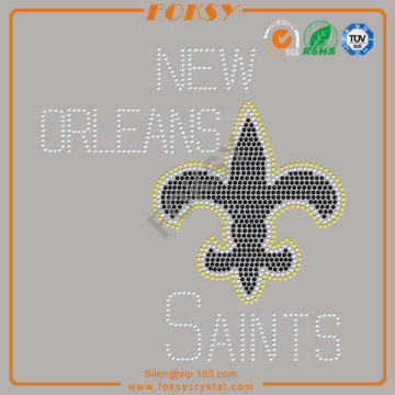 New Orleans saints rhinestone iron on patchs