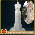 RASA-27 alto Qyuality mano-cuentas perlas nupciales vestidos de novia con tren de la correa de espagueti elegante sash arco vestido de novia de encaje