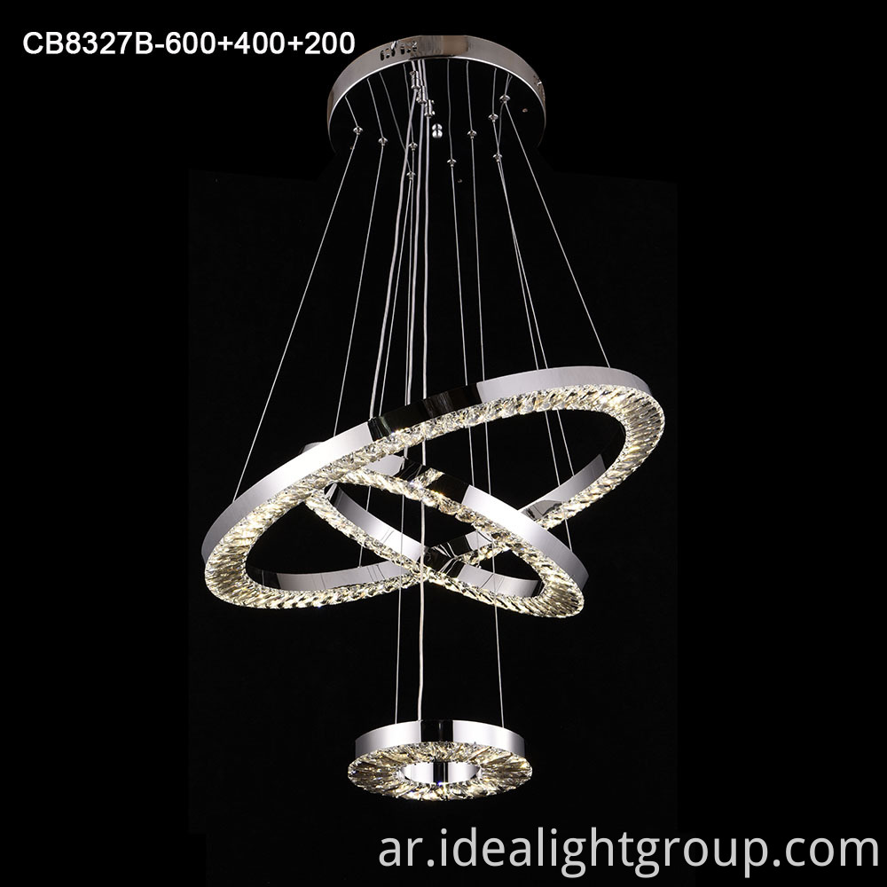 Stainless steel led chandelier