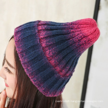 Womens Unisex Autumn Winter Warm Knitted Tie Dyed Gradual Caps Beanie Braided Hat (HW122)