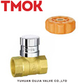 brass color long handle magnetically lockable ball valve