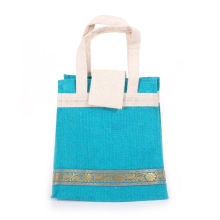 Sky blue design jute tote bag