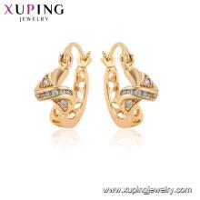96855 xuping mode or plaqué simulation cristal boucles d'oreilles pour les femmes