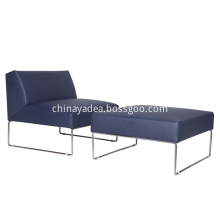 Modern Style Leather Sofa Chair with Ottoman