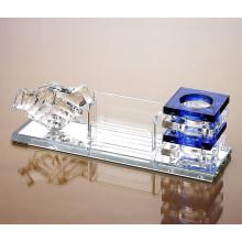 Porte-stylo en cristal personnalisé de cadeau de partenaire d'affaires de papeterie de bureau
