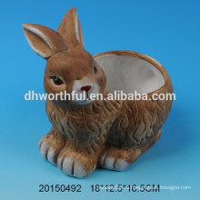 Керамический цветочный горшок с кроличьим дизайном для decro