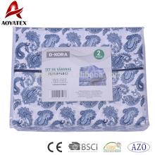 Estilo de la moda 75gsm 100% poliéster 4 unids hojas de microfibra y hoja de cama para uso doméstico