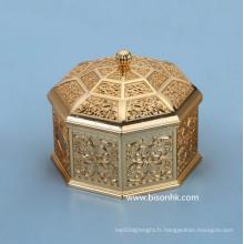 Boîte à bijoux en métal personnalisé rétro en gros, boîte à bijoux en métal antique