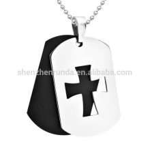 Vente en gros Verre Customized Blank Black Plating Pendentif Pendentifs en acier inoxydable double avec pendentif en croix Pendentif Collier