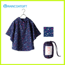 Allover Printed Foldable Children's Polyester Rain Poncho with Pouch